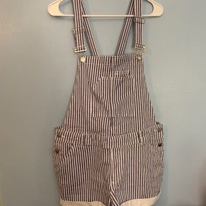 Overalls. Shorts. One piece. Blue/white stripes